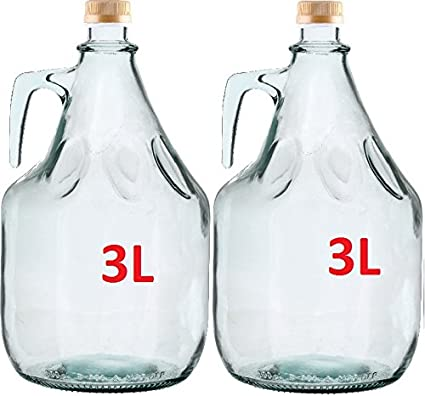 Conjunto de 2 botella de cristal botella de vidrio globo gärballon ...