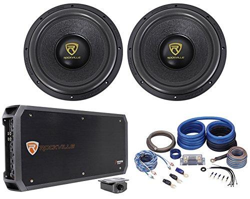 """Rockville W12K9D4 12"""" 8000 Watt Car Subwoofers+Mono Amplifi"""