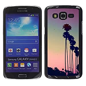 Design for Girls Plastic Cover Case FOR Samsung Galaxy Grand 2 Los Angeles La Purple Sunset Palm Trees OBBA