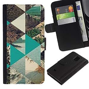 KingStore / Leather Etui en cuir / Samsung Galaxy S5 Mini, SM-G800 / Naturaleza Polígono Sea Forest Lake;