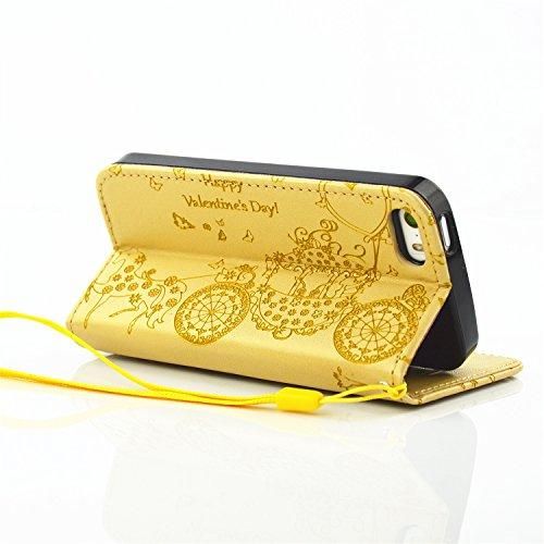 JIALUN-carcasa de telefono Resina Rhinestone en relieve flor patrón de mariposa caso Folio Stand Case PU cuero con caja de tarjeta ranura y Foto de la ventana de mano correa caso soporte para IPhone 5 Gold