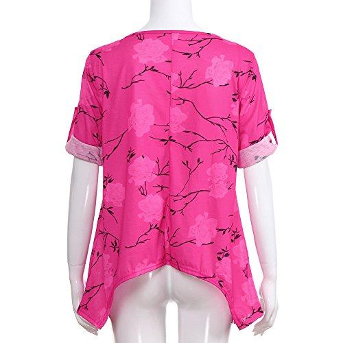 ... T Plus Rot Size Tshirt Shirt Bluse Tops Freizeit Blumendruck Mode Sommer  MOIKA Casual Damen Damen ... 43df5ca8b9