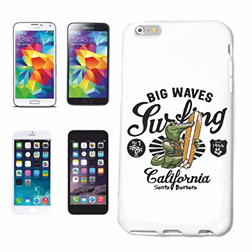 "cas de téléphone iPhone 6+ Plus ""BIG WAVES CALIFORNIA CROCODILE ALLIGATOR SANTA BARBARA BEACH SURFING SURF LONGBOARD ONDES SURF Beginner Shop"" Hard Case Cover Téléphone Covers Smart Cover pour Apple i"