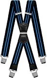 Mens Suspenders X Style Very Strong Clips Adjustable One Size Fits All Heavy Duty Braces (Black Blue)
