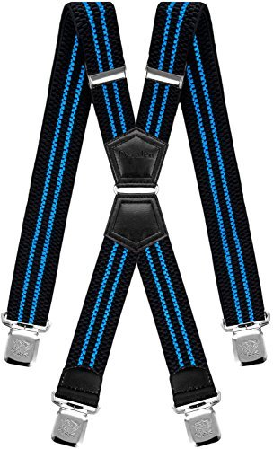 Mens Suspenders X Style Very Strong Clips Adjustable One Size Fits All Heavy Duty Braces (Black Blue) by Decalen