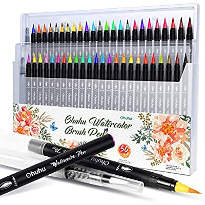 Watercolor Brush Pens, 20 Colors Water Color Painting Markers W/A Water Coloring Brush, Watercolor Paints Soft Flexible Tip for Adult Coloring Books, Manga, Comic, Calligraphy