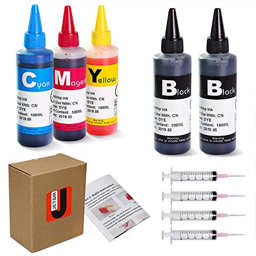 JetSir 4 Color Compatible Ink Refill kit for Canon 250/251 270/271 225/226 125/126 270/271 pgi-240 245 246 ect, 100ml x5