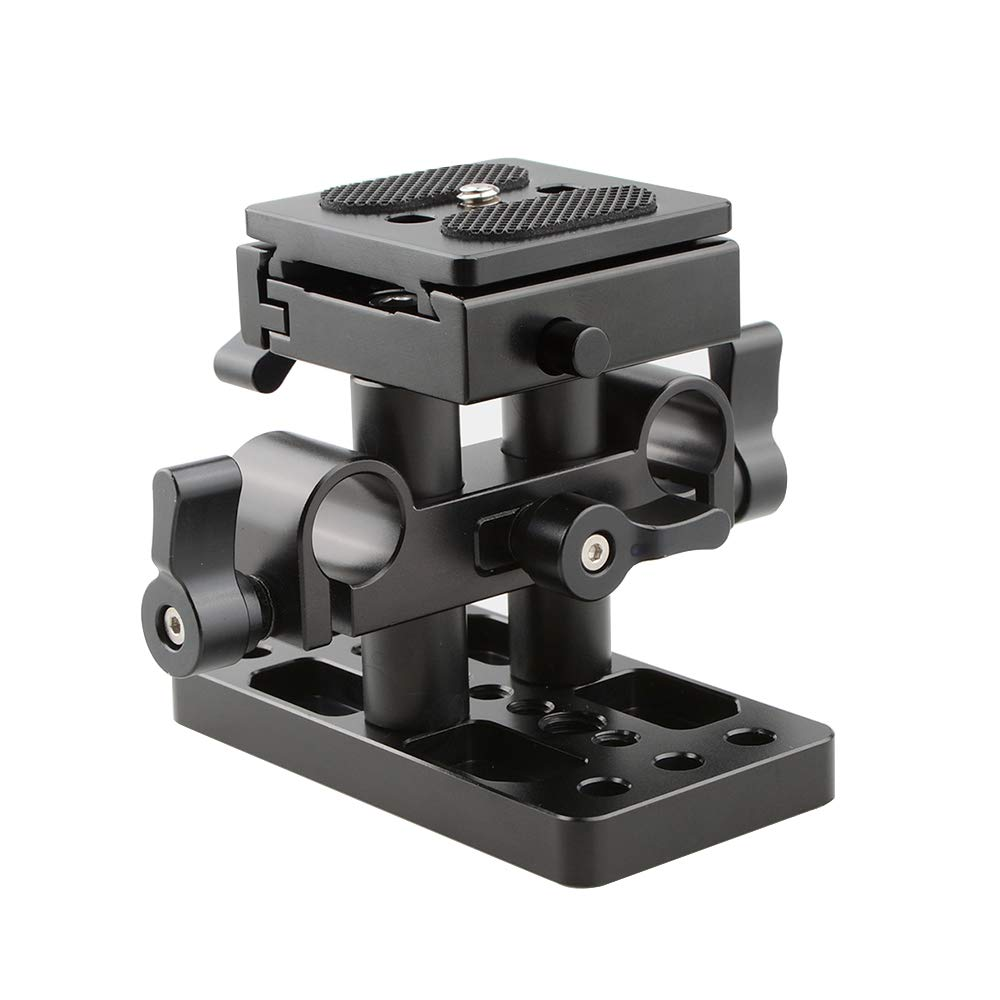 CAMVATE Quick Release Plate with 15mm Rail Riser Support System for Arca Swiss Standard(Height Adjustable) by CAMVATE