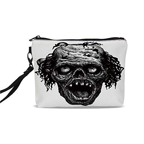 Halloween Simple Cosmetic Bag,Zombie Head Evil Dead Man Portrait Fiction Creature Scary Monster Graphic for Women,9