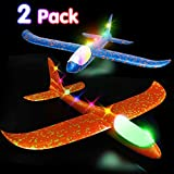 Airplane Toys Throwing Foam Plane, 13.5'' Inch LED Light Up Glider Airplane Model Toy with Dual Flight Mode Challenging Outdoor Plane Jet Sports Game Flying Toys Gift for Kids Toddlers Teens (2 Pack)