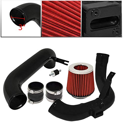 For 2012-2015 Honda Civic (DX LX EX Model Only) 3 Inch Aluminum High Flow Cold Air Intake System Black Pipe with Air Filter Red