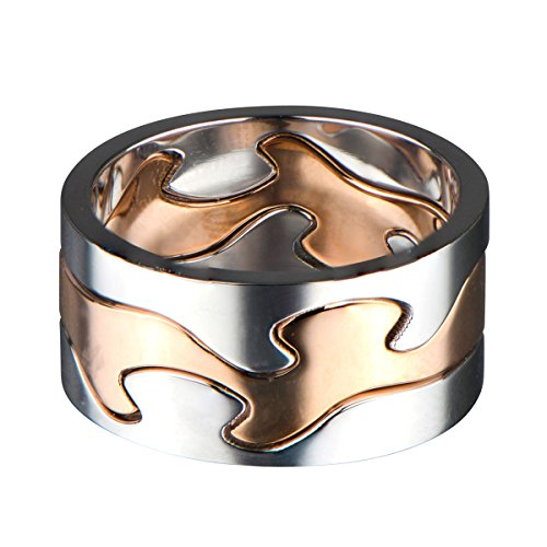 Rose Puzzle Ring (Two Tone Puzzle Ring - Rose Goldtone and Silvertone)