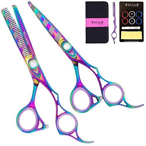 """Washi Beauty - Rainbow Zebra Set 5.5"""" Shear 30 Tooth Thinner, Razor, Case 440C by Washi Beauty Shears"""