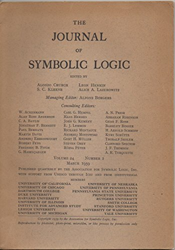The Journal of Symbolic Logic, vol. 24, no. 1 (March 1959):