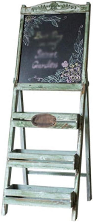 ZHJ-Flower stand Soporte De ExhibicióN De La Planta Escalera De Plantas Estante De Almacenamiento De La DecoracióN del JardíN del Café del Soporte De Flor De La Pizarra De Madera Azul del