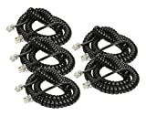 iMBAPrice® (5 Pack) Black Telephone headset cable - (3 to 12 Feet) Heavy Duty Coiled Telephone Handset Cord