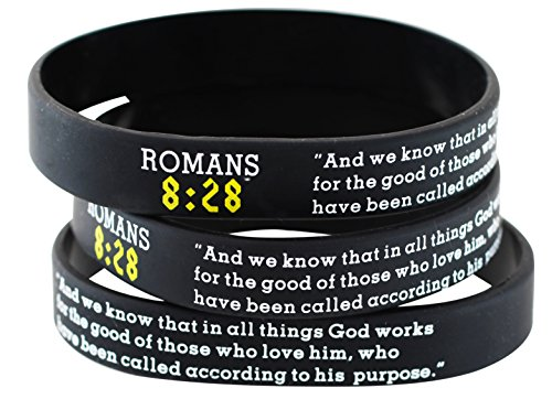 Assorted Popular Scripture Verses Printed On Silicone Wristbands For Church Giveaways And Religious Camps (Packs of 10 Silicone Bands) (Romans 8:28)