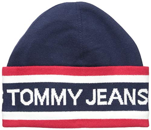 Tommy Jeans Men's Beanie Heritage Logo, Red/White/Navy, One Size
