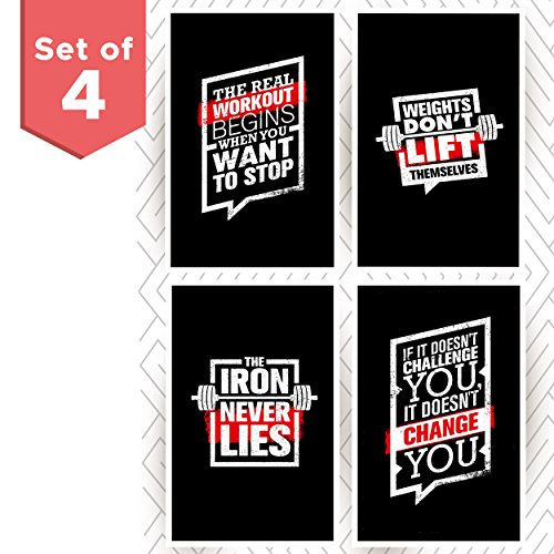 Set of Four Motivational Fitness Posters. Wall Art Inspiration and Quote Decals with Workout,