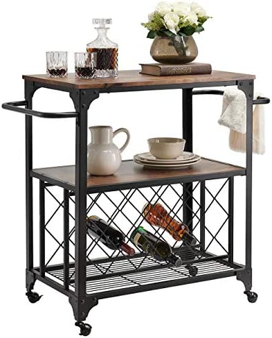O K FURNITURE Industrial Rolling Bar Serving Cart with Wine Rack, 30 W x 18.1 D Kitchen Carts with Wheels and Handle, Rustic Brown