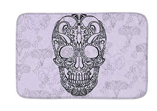 Quellajee778 Lovely Funny Skull Doormats Door Mat Entrance Mat Floor Mat Welcome Mats/Outdoor/Front Door/Bathroom Mats Rugs for Home/Office/Bedroom Non Slip Backing (23.6
