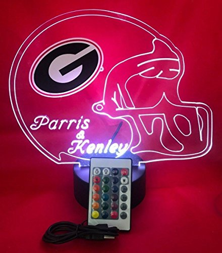 Georgia Bulldogs NCAA College Football Light Up Lamp LED University of Georgia Desk Table Lamp, Our Newest Feature - It's Wow, Comes with Remote, 16 Color Options, Dimmer, Free Engraving, Great Gift