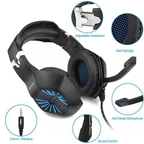 PECHAM Gaming Headset with Mic for Xbox One, PS4,Nintendo Switch, PC - Surround Sound, Noise Reduction Game Earphone - Easy Volume Control - 3.5MM Jack for Smart Phone, Laptops, Computer(Blue) by PECHAM (Image #1)'