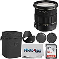 Sigma 17-50mm f/2.8 EX DC OS HSM Zoom Lens for Nikon DSLRs with APS-C Sensors + 64GB Memory Card + Photo4Less Camera and Lens Cleaning Cloth - Top Value DSLR Basic Lens Accessory Bundle!