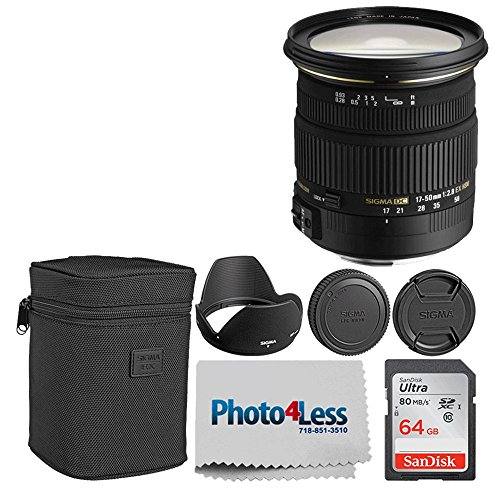 Sigma 17-50mm f/2.8 EX DC OS HSM Zoom Lens for Nikon DSLRs with APS-C Sensors + 64GB Memory Card + Photo4Less Camera and Lens Cleaning Cloth – Top Value DSLR Basic Lens Accessory Bundle!