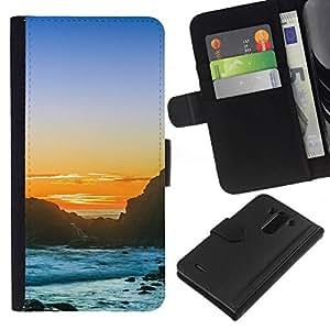 All Phone Most Case / Oferta Especial Cáscara Funda de cuero Monedero Cubierta de proteccion Caso / Wallet Case for LG G3 // Sunset Rocky Beach