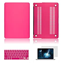 """IC ICLOVER Laptop Rubberized Hard Cover See Through Frosted Matte Coated Snap On Case For Apple MacBook Air 11 inch 11.6""""+Transparent TPU Keyboard Skin Cover+Clear LCD Screen Protector-Hot Pink"""