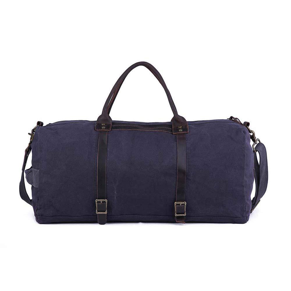 旅行バッグ スタイリッシュなシンプルコットンキャンバス大容量の男性と女性のショルダーバッグ手荷物大容量収納袋 スポーツバッグ トラベルバッグ (色 : 青)  青 B07P82CW6J