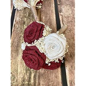 Burgundy & Ivory Wedding Bouquets (Choose Bridesmaids + Bridals) Rustic Bouquets, Burlap Bouquets, Rustic Wedding Bouquets, Burlap Wedding Bouquets, Bouquets, Burgundy Bouquets 108