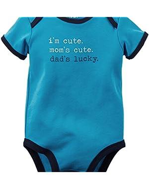 Carters Baby Boys Dad's Lucky Bodysuit Blue NB