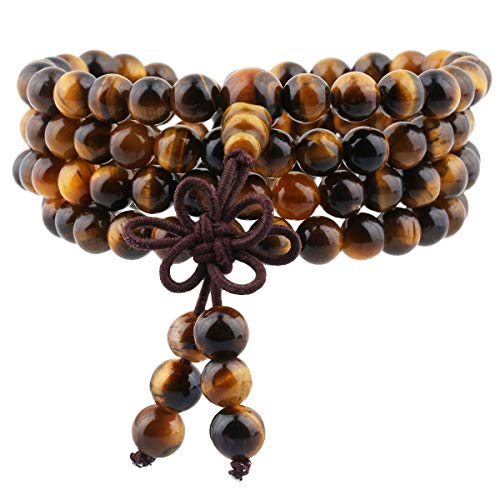 TUMBEELLUWA 6mm Stone Beads Bracelet for Women and Men, 108 Mala Prayer Beads Necklace for Unisex Elastic,Tiger's Eye