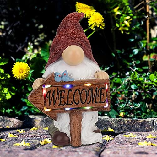 Garden Gnomes Outdoor,Welcome Gnome with Solar Power Lights,Garden Gnome Statue Outdoor Décor for Indoor Outdoor Backyard Home Office