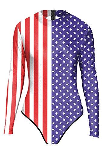 THENICE Mujer Trajes de una pieza Bikini US Flags