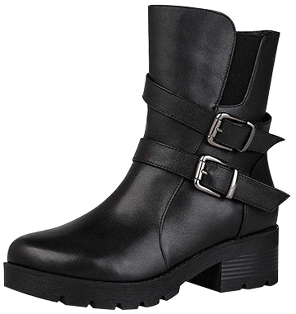 RSHENG Stiefel Damen Warmfutter High Heel Wasserdichte Schneeschuhe Schwarze Stiefeletten