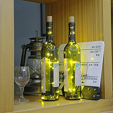 3 PCS 75cm Corcho Micro Luces LED para Botella de Vino,GZQES,Luz de la Secuencia del Alambre de Cobre del Corcho,Lámpara DIY Boda de Navidad Bar Deco Regalo ...