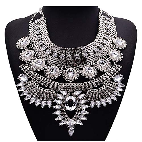 NABROJ Vintage Silver Crystal Bib Necklace, Flower Chunky Pendant Necklaces Collar Bridal costume Jewelry 1 Pc-HL23 Silver ()