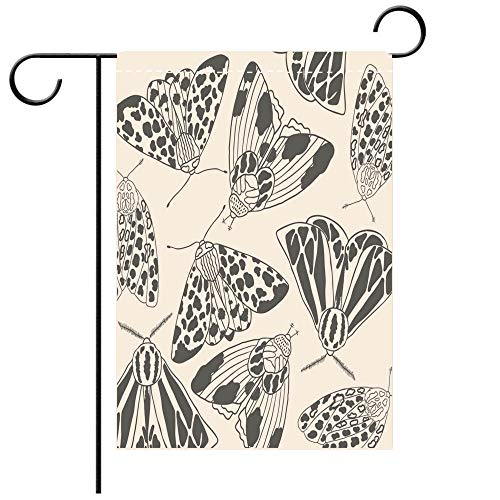 BEICICI Custom Personalized Garden Flag Outdoor Flag Summer Moth Coloring Page Hand Drawn Vector Illustration Best for Party Yard and Home Outdoor Decor