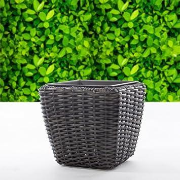 Polyrattan Pflanzkübel eckig schwarz Ø 30 cm: Amazon.de: Garten