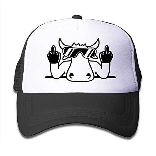 a55784a39a9 Image Unavailable. Image not available for. Color  P.Scott Mesh Baseball  Cap Snapback Hat Middle Finger Cute Cow Boy-Girl