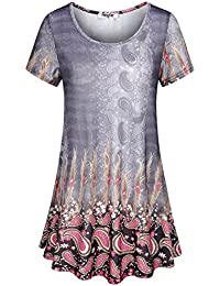 Women's Crew Neck Short Sleeve Printed Flared Tunic Tops
