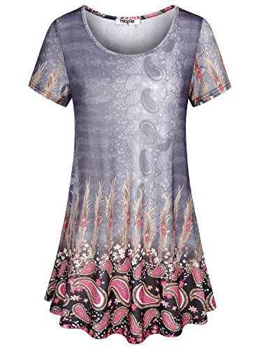 Hibelle Short Sleeve Tunic Tops, Womens Crew Neck Floral Printed Flower Blouse Casual Loose Fit Tunic Tops Flare Swing Summer T Shirt Contemporary Round Hem Tee Large Multi Grey Easter - Woman Printed Knit Top