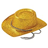 Rimi Hanger Mens Womens Glitter Cowboy Cowgirl with Cord Hat Adults Party Headwear Accessory Gold One Size Fits Most
