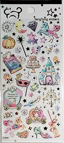 PP Stickers 1 Sheet Diamond Stars Halloween Palace Cartoon Removable Stickers for Kids Children Birthday Card Diary Album Notebook Phone Gifts Decor DIY Reward Teacher Students ()