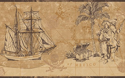 Vintage Pirates Map Chest of Gold Frigate Sail Ship Nautical Beige Brown Wallpaper Border Retro Design, Roll 15' x 9''