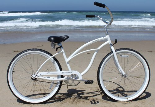 Firmstrong Urban Lady Single Speed - Women's 26' Beach Cruiser Bike (White)