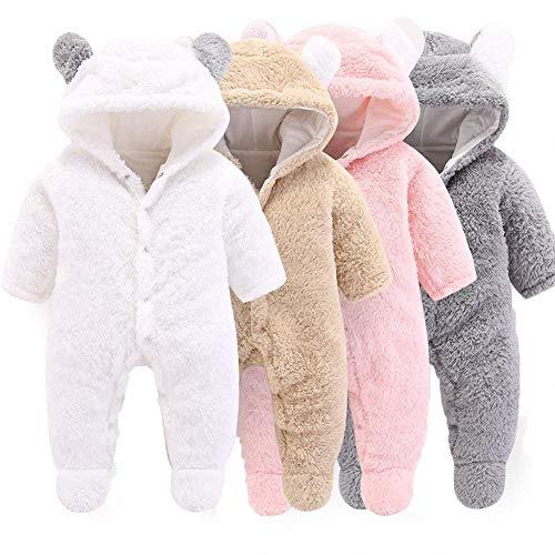Newborn Baby Bear Halloween Costume (Mondayflower Newborn Sleeper for Boys, Infant Baby Cartoon Bear Snowsuit Warm Fleece Hooded Romper Jumpsuit)